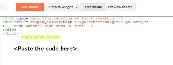 insert like button code in Blogger template