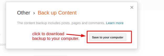 Backup up Blogger Content by click save to your computer